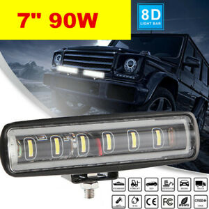 "Single Row 7"" 90W LED Light Bar Slim Offroad SPOT Driving 4WD Boat SUV 12V24V"