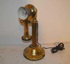 RARE VINTAGE BRASS CANDLESTICK TELEPHONE STYLE DESK LAMP