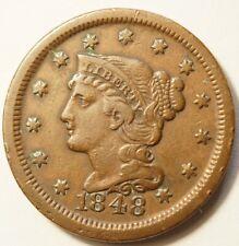 ETATS-UNIS : 1 CENT BRAIDED HAIR 1848