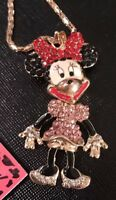 Betsey Johnson Necklace MINNIE MOUSE PINK RED Gold  Crystals Gift Box Bag