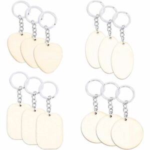 Wood Keychain Blanks, Round, Oval, Heart, and Rectangle for Crafts (12 Pack)