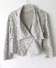 ANTHROPOLOGIE  Moth Women's Paisley Gust Sweater Jacket Moto Zip Cardigan