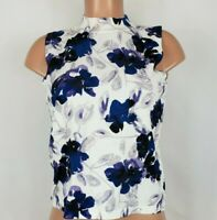Ivanka Trump Women's Size Small Multi Color Blouse Floral High Neck Sleeveless