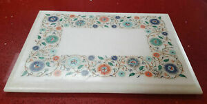 """18"""" Marble Dining Table Top Inlay Rare Semi Antique Center Coffee Table AR0933"""