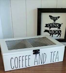 Rae Dunn Inspired Coffee and Tea Storage Box, Storage Caddy, Farmhouse Decor