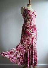 PER UNA Pink Floral Sun Dress Bias Cut Full Skirt Marks and Spencer Size 8 Reg