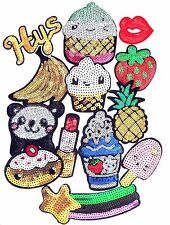 Sequin Iron On Patches- Star Fruit Cupcake Panda Crafts Appliques- 13 Designs