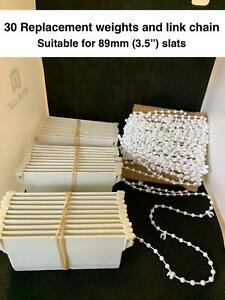 30 x Vertical Blind Bottom Weights  (89 mm / 3.5 inch) and bottom link chain