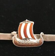 Vintage Sterling Silver Enameled Tie Pin Bar Clip Viking Ship
