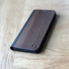 iPhone 7 Real Wood & Black Leather | Apple iPhone Folio Wallet Case | OXSY