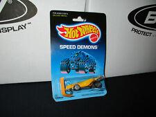 1986 Hot Wheels Speed Demons Turboa Blue Pack  Yellow Die Cast Metal New On Card