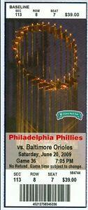 2009 Phillies vs Orioles Ticket: Brian Roberts, Ryan Howard & Gregg Zaun HRs