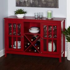 Kitchen Wine Buffet Table Sideboard Cabinet Rack Bar Plates Glasses Storage Red
