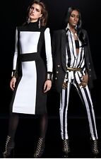 BALMAIN BLACK AND WHITE SWEATER TOP FOR H&M SZ 8 COVER BAG GOLD ZIPPER CARDIGAN
