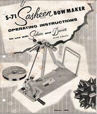 Owner's Manual for Vintage 3M S71 Sasheen Bow Maker