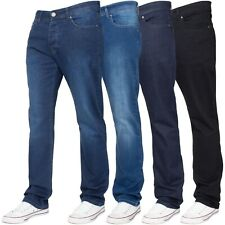 Enzo Mens Stretch Straight Leg Jeans Regular Fit Black Blue Trousers Denim Pants