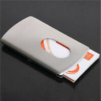 Business Pocket Stainless Steel Money Case Thumb Slide Out Credit Card Holder