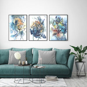 Print Paper Canvas Wall Art Decor Watercolor Style Abstract Flower 3sets Poster