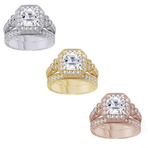 Asscher Cut Simulated Diamond Antique Ring Set in 14K Gold Over Sterling Silver