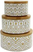 LA JOLIE MUSE Porcelain Geometric Decorative Canister Set of 3 with Lids NEW