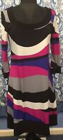 TIANA B M Medium Stretch 3/4 Bell Sleeve Black White Pink Dress STAIN