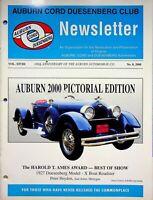 Vintage Auburn Cord Duesenberg Club Newsletter Magazine Vol 17 2000 No. 8 m884