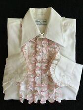 MEN'S RUFFLED DRESS SHIRT, WHITE, VINTAGE,, WESTERN, FORMAL M. 15-32-33   U.S.A.