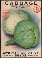 *Vintage* CABBAGE Vegetable Seed Packet Front Only FARMER SEED CO 1930's *RARE*