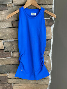 Athleta Blue Speedlight Ruched Sides Racerback Tank Top~~Size Small