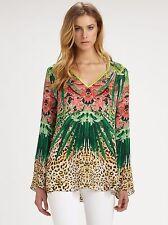 ELIE TAHARI Floral Tropical Animal Print SILK Tunic Blouse Top XS 2 4 NEW $328