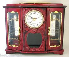 New Red+Black+Gold Tone Trim+Floral Accent Clock,Jewelry+Fairy Music Box