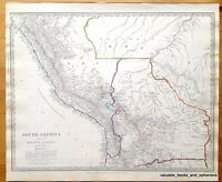 Antique Map South America 1840 Amazon Peru Bolivia Brazil Andes Quechua Aymara