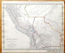 Antique Map South America 1840 Amazon Peru Bolivia Brazil Andes Quechua Aymara