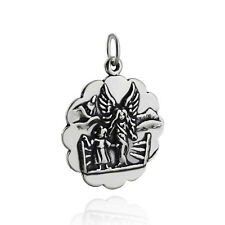 Guardian Angel Charm - 925 Sterling Silver Scallop Disk Round Cherub Chaild NEW