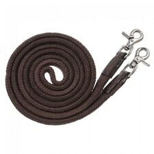 Royal King Deluxe Brown Cotton Flat Roping Reins Horse Tack Equine