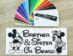 Brother & Sister On Board Sign Sticker Vinyl Decal Adhesive Bumper Tailgate Blac