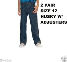 2 PAIR BOYS 12 HUSKY FADED GLORY RELAXED FIT DENIM JEANS W/ ADJUSTERS - DK STONE