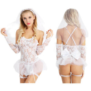 Womens Lingerie Bride Bridesmaid Party Role Play Costume Wedding White Nightwear