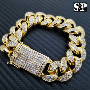 "Hip Hop Iced 19mm 8.5"" Heavy Gold Plated Brass Micro Pave Stone Bling Bracelet"