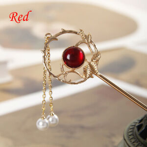 Women Vintage Hair Chopstick Jewelry Gold Color 1pc Hairpins Pearl Crystal Gifts
