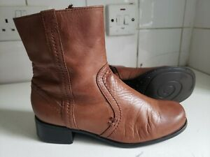 M&S FOOTGLOVE UK 3 EU 36 WOMENS TAN BROWN REAL LEATHER FLAT ANKLE WINTER BOOTS