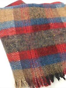 James Pringle Inverness Scotland & Waves 100% Wool Plaid Fringe Throw Blanket