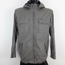 BEN SHERMAN MENS JACKET KHAKI GREEN ZIP OFF HOODED COTTON MOD SIZE LARGE L