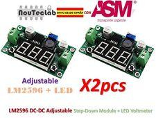 2PCS LM2596 DC-DC Adjustable Step-Down Power Module + LED Voltmeter