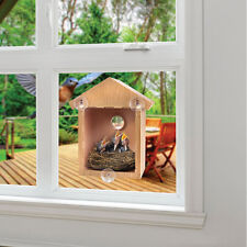 Novelty Durable Window Mounted Bird Nest Nesting View Box Wooden Birdhouse