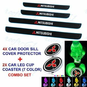 Blue/Black Car Door Scuff Sill Cover Panel Protector +LED COASTER For Mitsubishi
