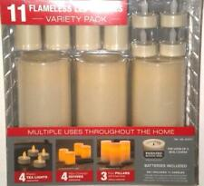 11 Flameless LED Wax Plastic Candles Variety Pack Timer White Vanilla Batteries