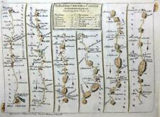 ROAD MAP BY JOHN SENEX c1762 HAND COLOUR  WALES  WREXHAM DENBIGHSHIRE CARDIFF