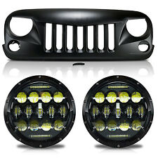 Headlight + Grille Combo Set Performance Upgrade for Jeep Wrangler JK 2007-2017