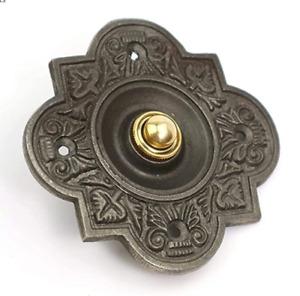 Door Bell Push Press Bell Quatrefoil Antique Cast Iron 100mm x 100mm